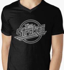 The Strokes Logo in Neon Men's V-Neck T-Shirt