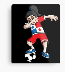 Panama Football Dabbing Soccer Girl With Soccer Ball And National Flag Jersey Futbol Fan Design Metal Print