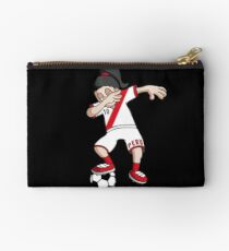 Peru Football Dabbing Soccer Girl With Soccer Ball And National Flag Jersey Futbol Fan Design Studio Pouch