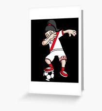 Peru Football Dabbing Soccer Girl With Soccer Ball And National Flag Jersey Futbol Fan Design Greeting Card