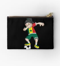 Senegal Football Dabbing Soccer Girl With Soccer Ball And National Flag Jersey Futbol Fan Design Studio Pouch