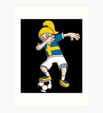Sweden Football Dabbing Soccer Girl With Soccer Ball And National Flag Jersey Futbol Fan Design Art Print