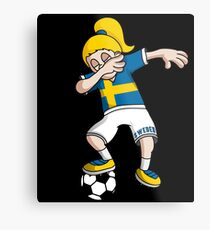 Sweden Football Dabbing Soccer Girl With Soccer Ball And National Flag Jersey Futbol Fan Design Metal Print