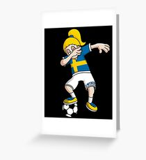 Sweden Football Dabbing Soccer Girl With Soccer Ball And National Flag Jersey Futbol Fan Design Greeting Card