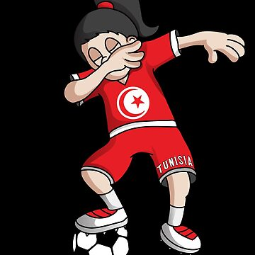 Tunisia Football Dabbing Soccer Girl With Soccer Ball And National Flag Jersey Futbol Fan Design by BzarDesigns