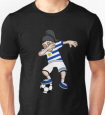 Uruguay Football Dabbing Soccer Girl With Soccer Ball And National Flag Jersey Futbol Fan Design Unisex T-Shirt