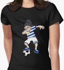 Uruguay Football Dabbing Soccer Girl With Soccer Ball And National Flag Jersey Futbol Fan Design Women's Fitted T-Shirt