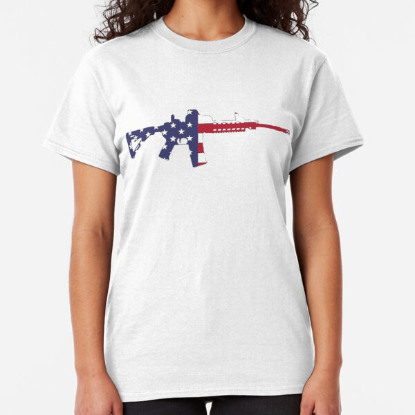 American Flag Red White And Blue Ar15 Rifle Classic T-Shirt