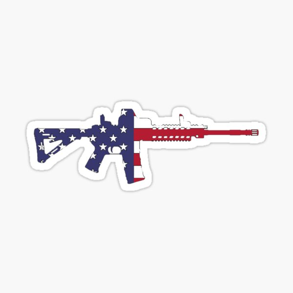 American Flag Red White And Blue Ar15 Rifle Sticker