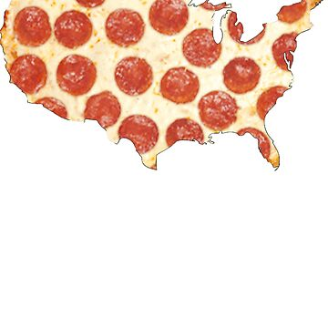 USA AMERICAN MAP PIZZA SHIRT PEPPERONI PIZZA STATE TSHIRT by nojoketyler