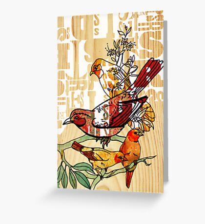 letterpress birds Greeting Card