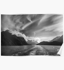 Dramatic clouds and alpine scenery at Lake Manapouri in black and white Poster