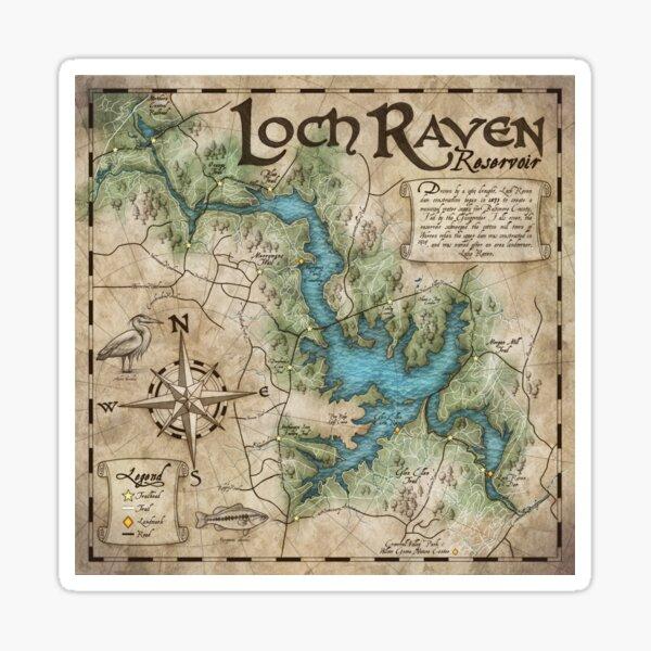 Loch Raven Reservoir Hiking Trail Map - Antique Cartography Sticker
