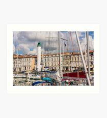 View of yachts in the old port, La Rochelle France Art Print