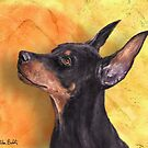 Painting of a Cute Doberman Pinscher on Orange Background by ibadishi