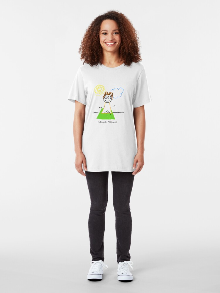 """Alternate view of Jenny Quips:  """"All is Well"""" Slim Fit T-Shirt"""