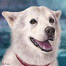 Painting of a White and Furry Alaskan Malamute by ibadishi