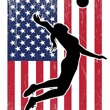 Volleyball USA Flag Womens Design  by kudostees
