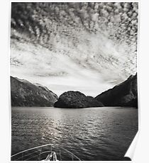 Adventure Cruise at Doubtful Sound in black and white Poster