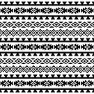 Aztec Stylized Pattern II BW by NataliePaskell