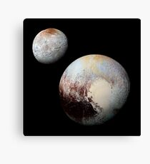 Charon and Pluto Enhanced Canvas Print