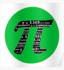 Green and Black Pi Poster