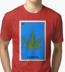 54a68b54 La Mota Mexican Loteria Bingo Funny Parody Card Tri-blend T-Shirt