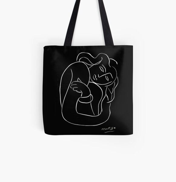 TAHITIAN LADY : Vintage Matisse Black and White Painting Print All Over Print Tote Bag