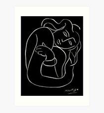 Lámina artística TAHITIAN LADY: Vintage Matisse Pintura en blanco y negro