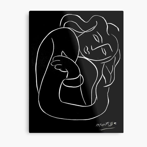 TAHITIAN LADY : Vintage Matisse Black and White Painting Print Metal Print