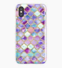 Moroccan watercolor teal and indigo tiles iPhone Case