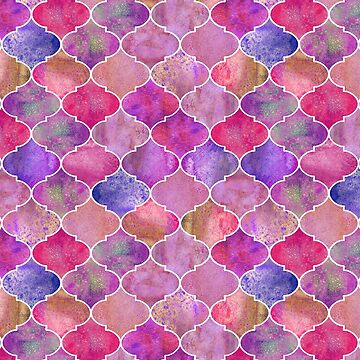 Moroccan watercolor fuchsia tiles by peggieprints