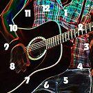 Guitar 1 White Numbers Wall Clock by Alan Harman