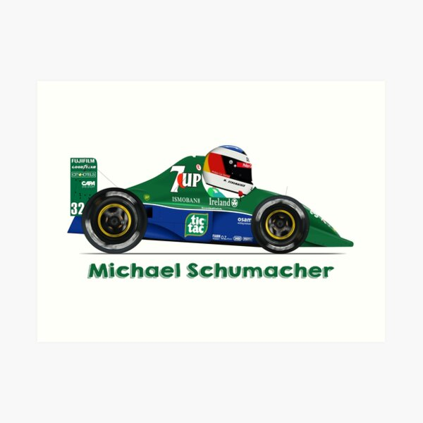 Michael Schumacher F1 Cartoon Jordan 191 Art Print By Car Toons Redbubble