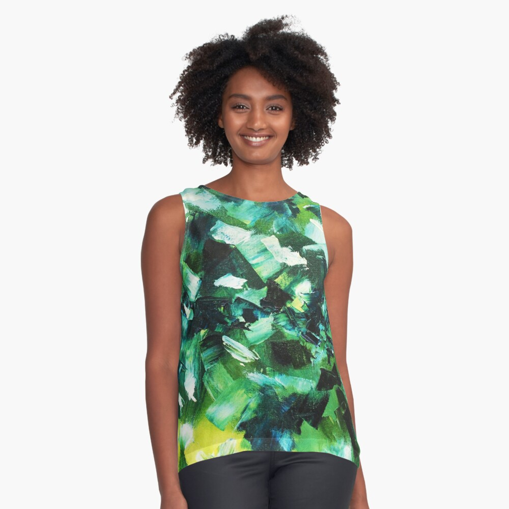 Yellow, Blue and Green Abstract Painting Sleeveless Top