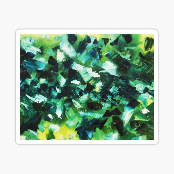 Wall Print Yellow, Blue and Green Abstract Painting Sticker