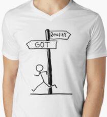 """Funny """"Reality vs GOT"""" Signpost Themed Design Men's V-Neck T-Shirt"""