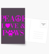 Peace, Love & Paws Neon Pink Dog Slogan Gifts for Dog Lovers Postcards