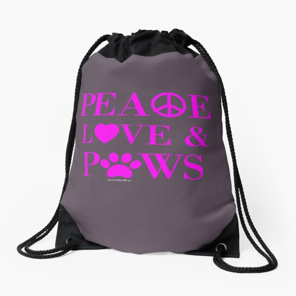 Peace, Love & Paws Neon Pink Dog Slogan Gifts for Dog Lovers Drawstring Bag