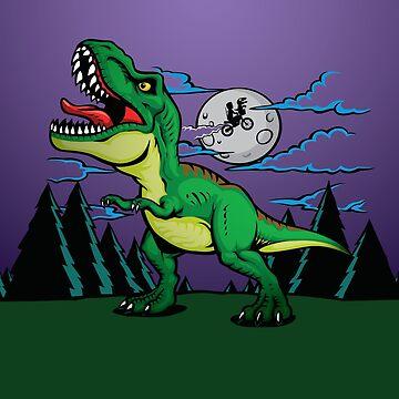 Cute Trex Dinosaur Roar by BeanieDraws