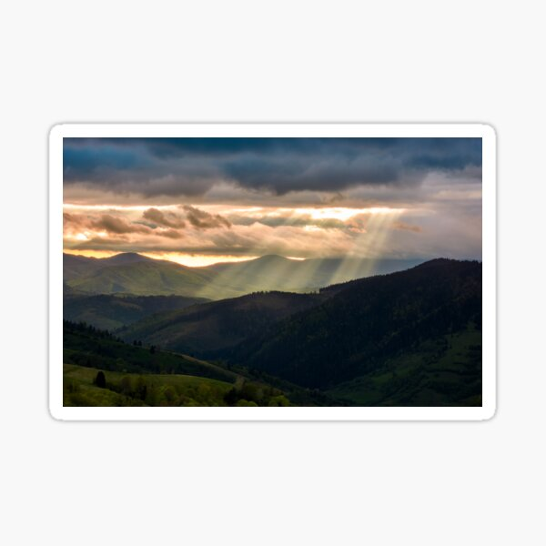 beams of light over the mountains Sticker