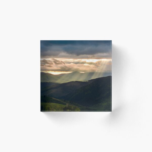 beams of light over the mountains Acrylic Block