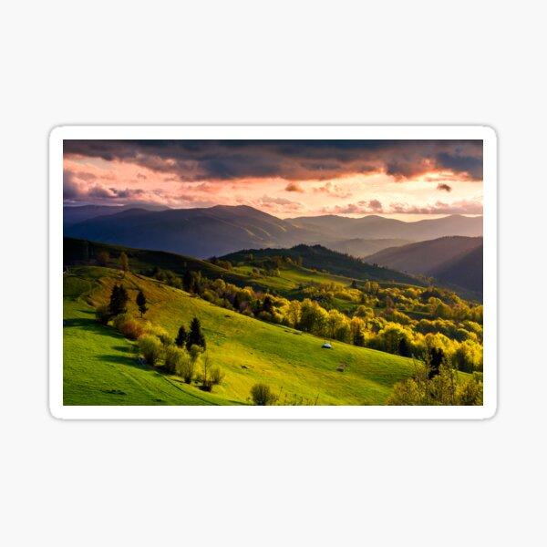 gorgeous sunset over Carpathian mountains Sticker