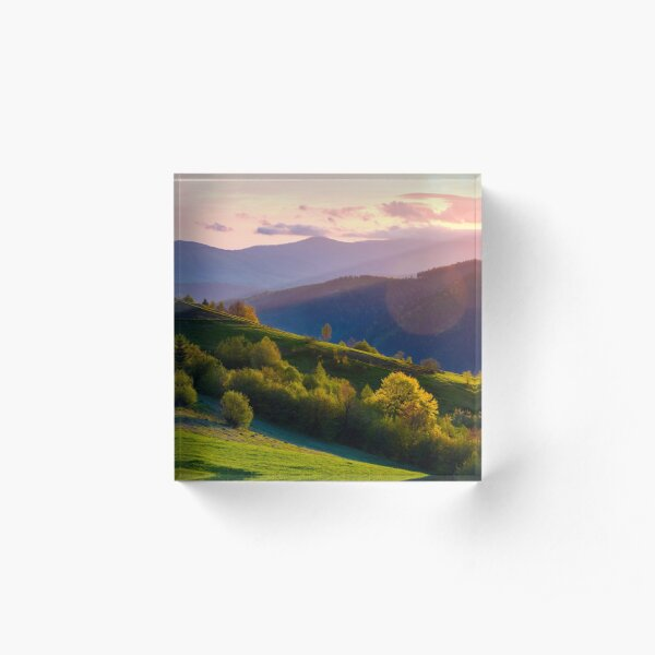 colorful sunset in Carpathian countryside Acrylic Block
