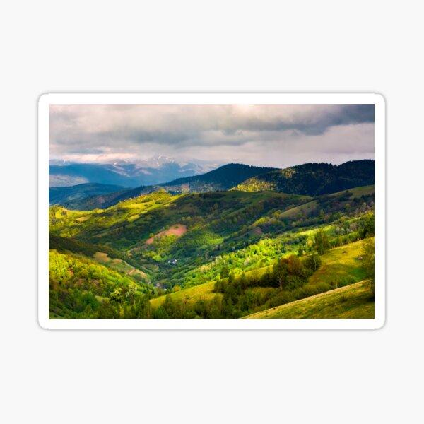 springtime in mountainous countryside Sticker