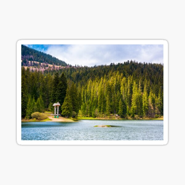 Synevyr lake among the forest in beautiful light Sticker