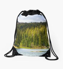 Synevyr lake among the forest in beautiful light Drawstring Bag
