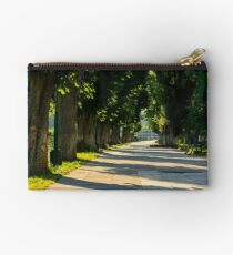 chestnut alley with benches in summertime Studio Pouch