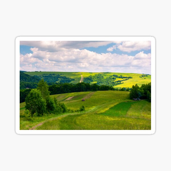 agricultural fields on hills Sticker