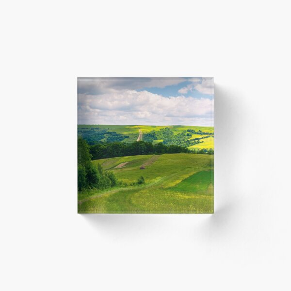 agricultural fields on hills Acrylic Block